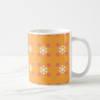 Flowers on orange mug