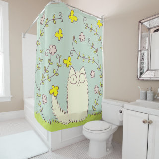 Fluffy Cat and Yellow Butterfly Shower Curtain
