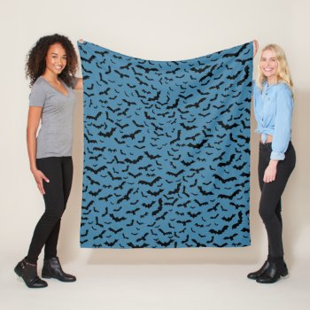 Bat Lovers Pattern Flying Black Bats Blue Fleece Blanket Bat Lovers Pattern