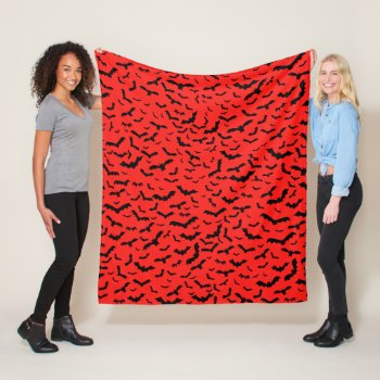 Flying Black Bats Red Fleece Blanket