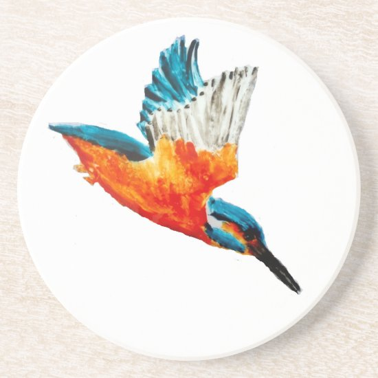 Flying Kingfisher Art Drink Coaster