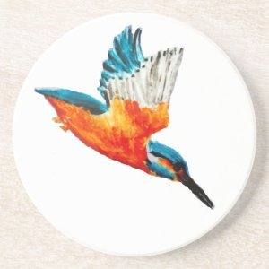 Flying Kingfisher Art Drink Coaster