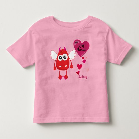 Flying Red Little Love Monster with Hearts | Toddler T-shirt