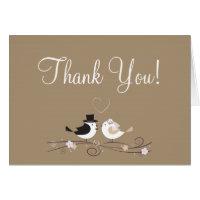 Folded Thank You Card Wedding Birds Bride Groom