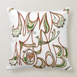 Folk Art Peace & Love Wish in Russian Throw Pillows