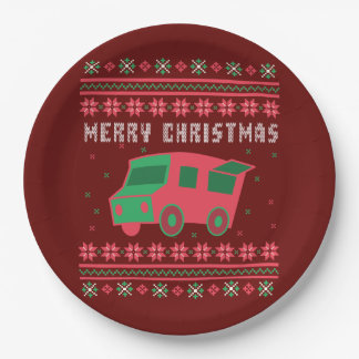 Food Truck Ugly Christmas Sweater Paper Plate