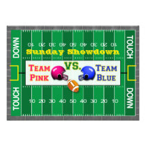 team pink team blue football field baby shower invitation