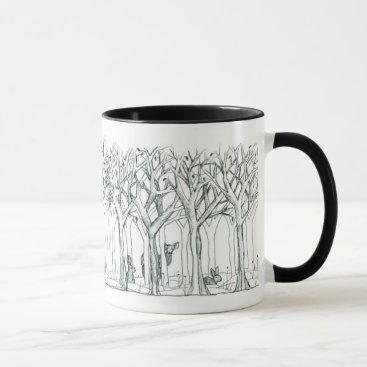 Forest Animals Deer Rabbits Winter Trees Art Mug