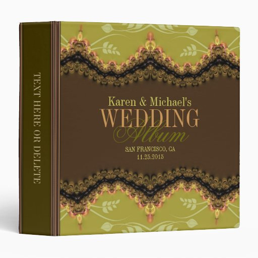 Forest Nature Fractal Lace Wedding Album Binder
