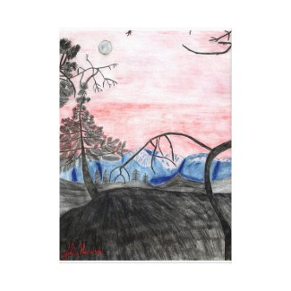 Forest Sunset Sketch by Julia Hanna Stretched Canvas Prints