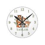 Forest Woodland Animals Bear Deer Fox Owl Numeral Round Clock