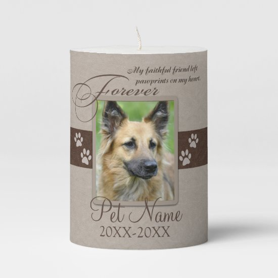Forever Loved Pet Sympathy Pillar Candle