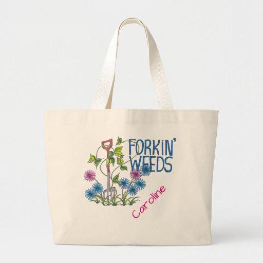 Forkin' Weeds (no background) Large Tote Bag