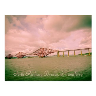 Forth railway bridge near Edinburgh, postcard
