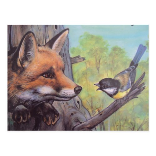 fox and bird postcard