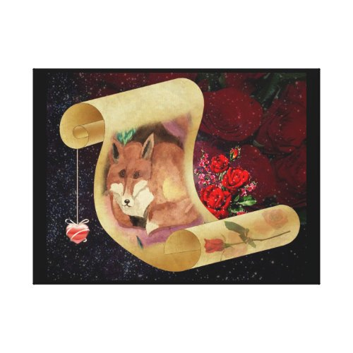 Fox And Sweet Roses Canvas Print