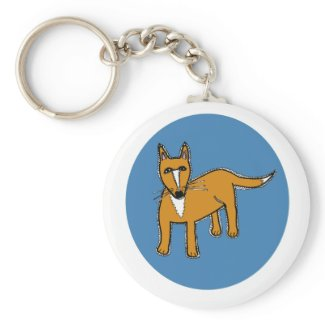 Fox Illustration in Blue Circle Keychain