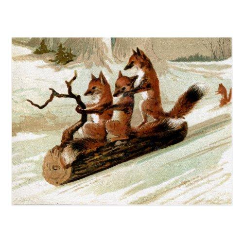 Fox Sleigh Ride Vintage Print Postcard