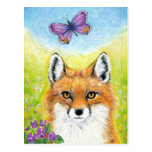 Fox with Butterfly postcard