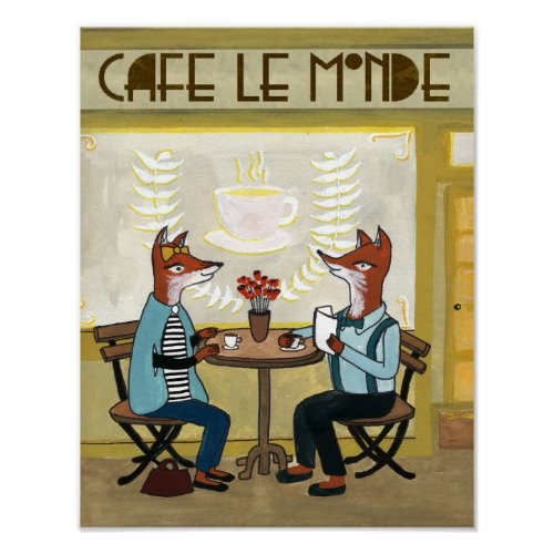 Foxes at the Cafe - Two Foxes at a Cafe Poster