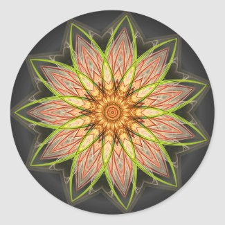 Fractal Flower - Earthtones Sticker sticker
