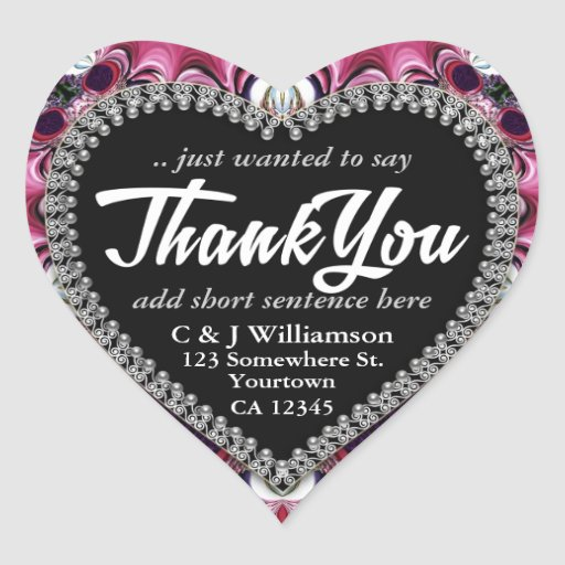 Fractal Lace Purple Pink Thank You Heart Stickers