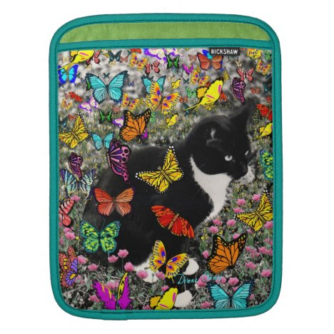 Freckles in Butterflies - Black White Kitty Cat Sleeve For iPads