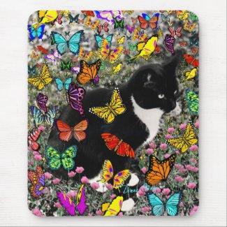 Freckles in Butterflies - Tuxedo Kitty Mousepads