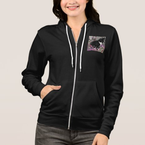 Freckles in Flowers II, Black White Tuxedo Cat Hoodie