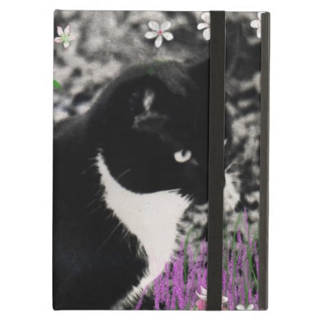 Freckles in Flowers II - Tuxedo Kitty Cat Cover For iPad Air