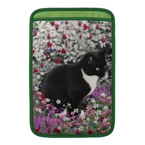 Freckles in Flowers II - Tuxedo Kitty Cat MacBook Air Sleeve