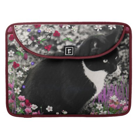 Freckles in Flowers II - Tuxedo Kitty Cat Sleeve For MacBooks