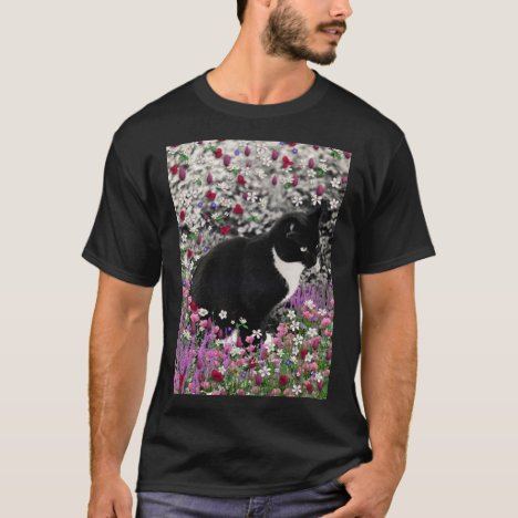 Freckles in Flowers II - Tuxedo Kitty Cat T-Shirt