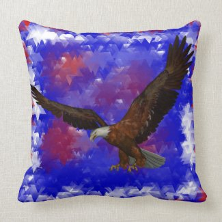 Freedom Eagle Abstract Stars Pillow