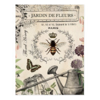 FRENCH BEE GARDEN POSTCARD