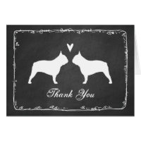 French Bulldog Silhouettes Wedding Thank You Card