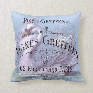 French Wine Grapevine Vintage Advertisement Pillows