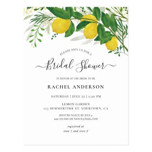 Fresh Lemon Bridal Shower Invitation Postcard