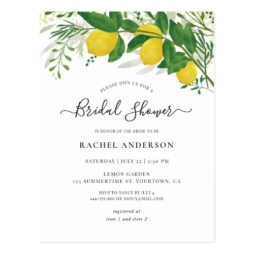 Fresh Lemon Bridal Shower Invitation Postcard