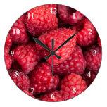 Fresh red raspberries wallclock