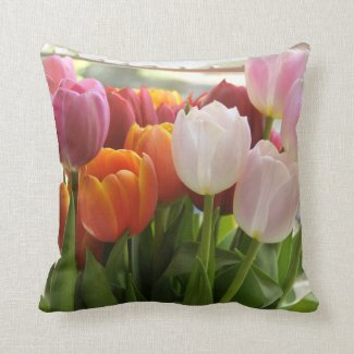 Fresh Tulips Throw Pillows
