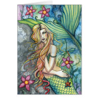 Fresh Water Mermaid Greeting Card by M. Harrison