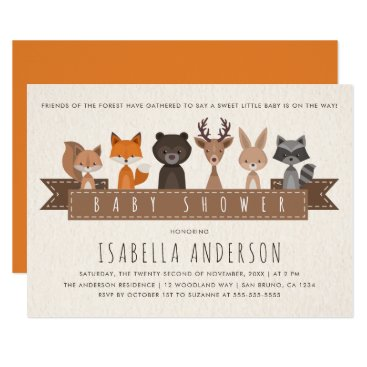 Friends of the Forest Woodland Animals Baby Shower Invitation