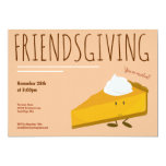 Friendsgiving Smiling Pumpkin Pie Slice Holiday Invitation