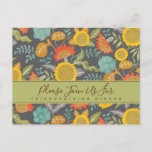 Friendsgiving Sunflower Floral Garden Dinner Invitation Postcard