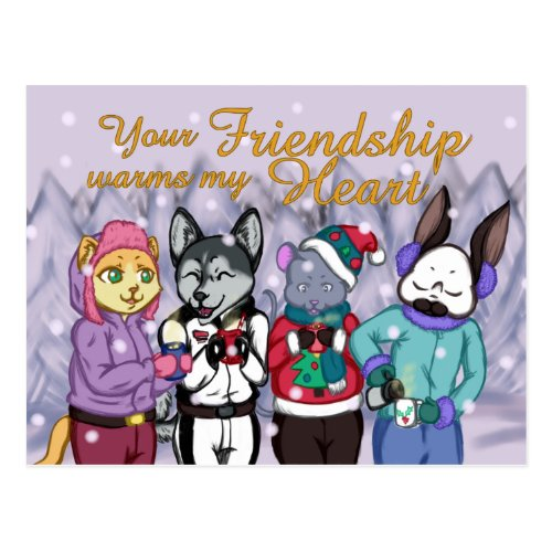 Friendship Warms the Heart Postcard