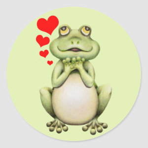 Frog Love Drawing Classic Round Sticker