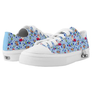 Frosty Blue Christmas Pattern Low Top Shoes Printed Shoes