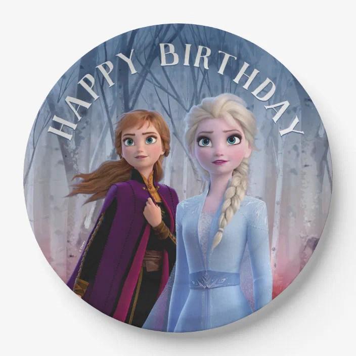 Frozen 2 Anna Elsa Happy Birthday Paper Plate Zazzle Com