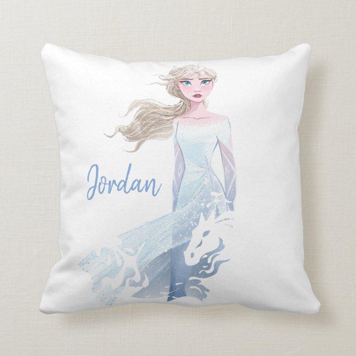 frozen 2 elsa watercolor illustration throw pillow zazzle com